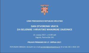 Dan otvorenih vrata za iseljenike i hrvatske manjinske zajednice @ Ured predsjednice RH | Zagreb | Croatia
