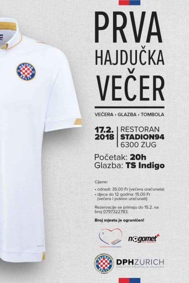 PRVA Hajdučka večer @ Stadion Restaurant 94 | Zug | Zug | Switzerland