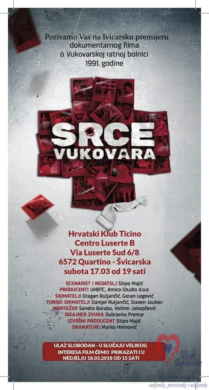 Premijera dokumentarnog filma o Vukovarskoj bolnici @ Hrvatski klub Ticino | Quartino | Ticino | Švicarska