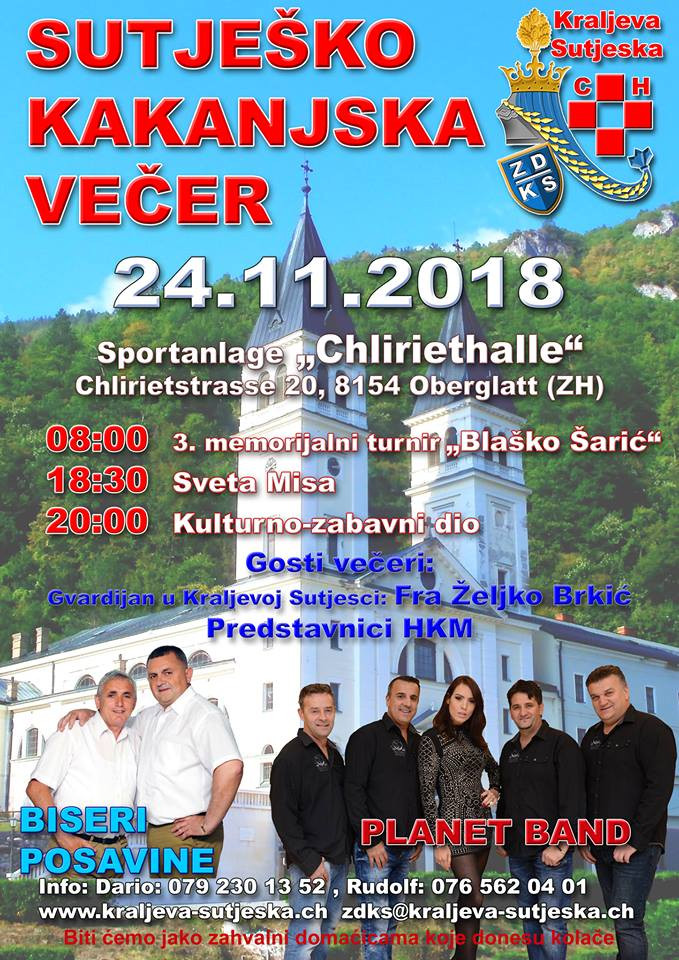 Turnir / Sutješko-Kakanjska večer @ Sportanlage Chlirethalle | Oberglatt | Zürich | Switzerland