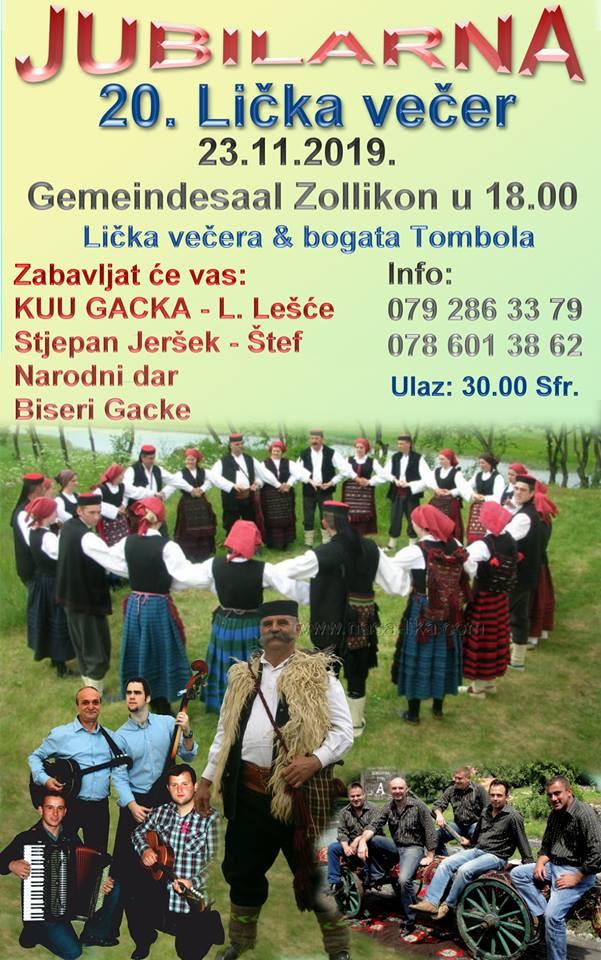 20. Lička večer @ Gemeindesaal Zollikon | Zollikon | Zürich | Switzerland