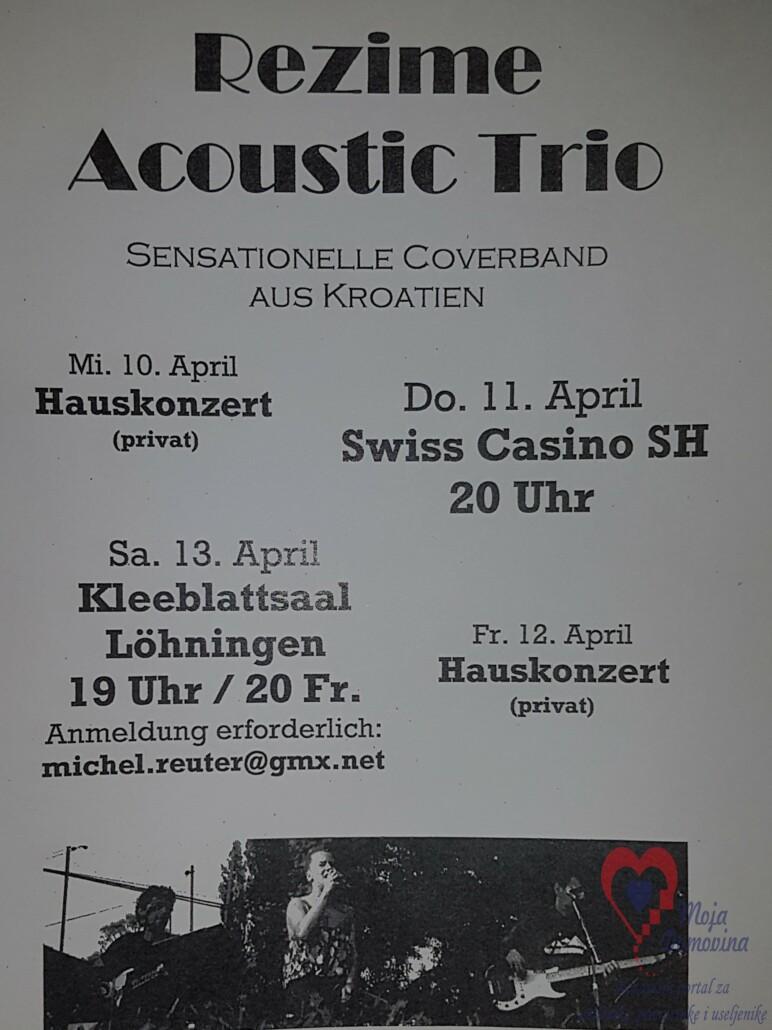 Koncert Rezime acoustic trio @ Casino Swiss | Schaffhausen | Schaffhausen | Švicarska
