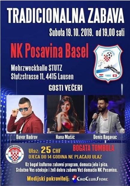 Tradicionalna zabava NK Posavine Basel @ Mehrzweckhalle Stutz | Lausen | Basel-Landschaft | Švicarska