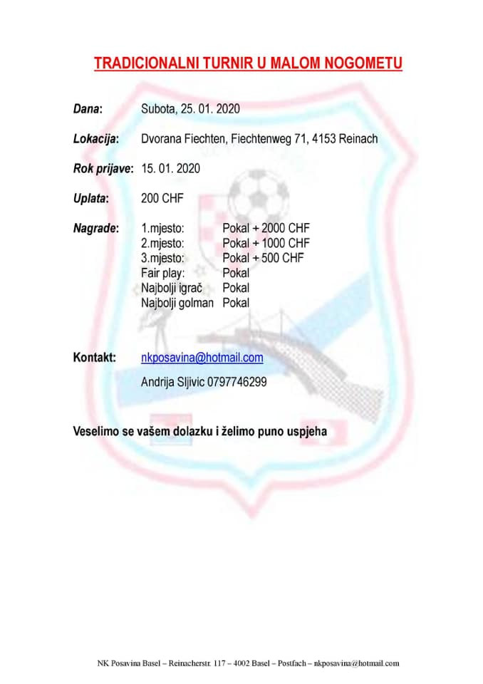 Malonogometni turnir NK Posavina Basel @ Dvorana Flechten | Kanton Reinach | Basel-Landschaft | Switzerland